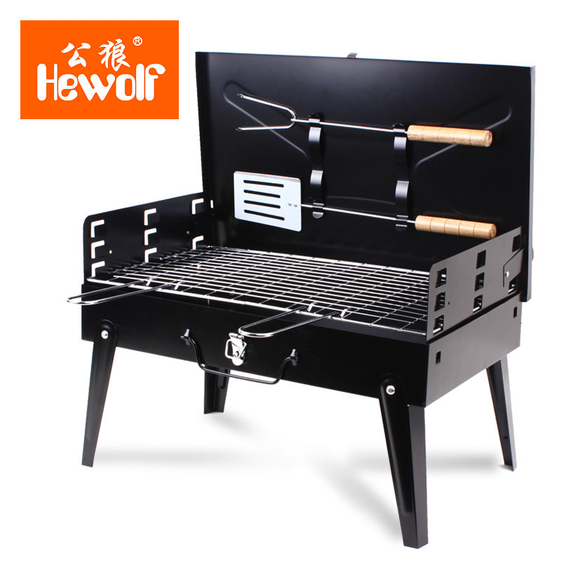 Hewolf Brand Outdoor folding barbecue stove portable thickening barbecue grill outdoor household trumpet charcoal grill
