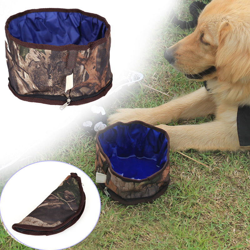 Collapsible Portable Pet Dog Bowls Waterproof PVC Camouflage Puppy Cats Drinking Food Bowl Pet Travel Outdoor Feeder