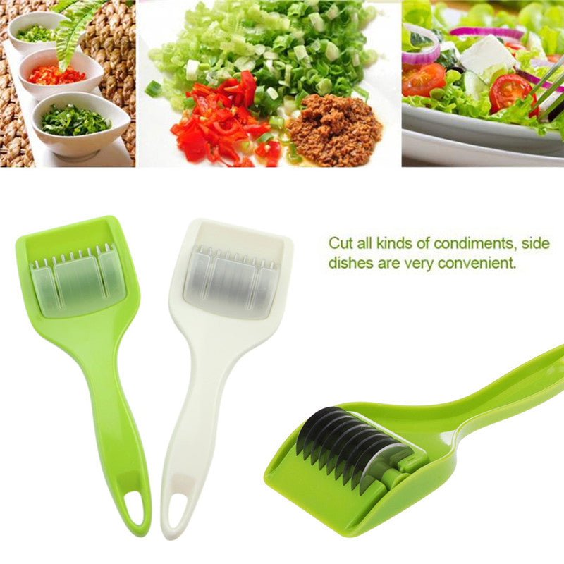 Newest Green White Herb Mills Cutter Roller Mince Stainless Steel Kitchen Tool