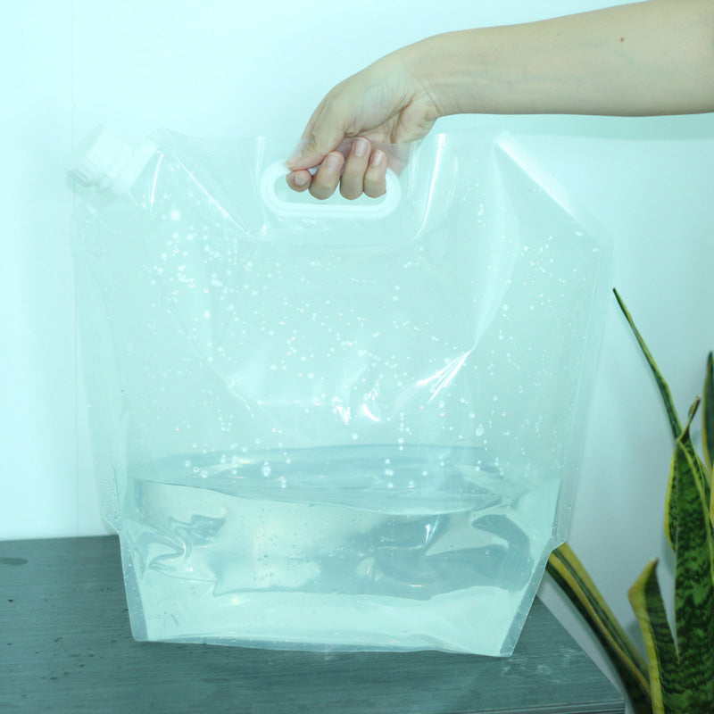 5L Folding Drinking Water Container Handheld Portable Clear Water Bag Camping Water Holder Survival Water Carrier Handle bag