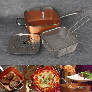 Nonstick Copper Pan Pots Cooker Induction Glass Lid Fry Filter Basket Steam Rack Chef Cooking Tool Kitchen Cookware Set 4Pcs/Lot