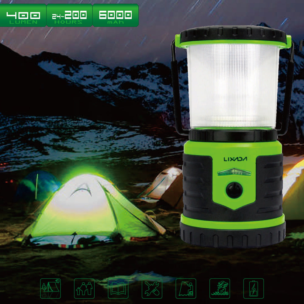 6000mAh Mobile Power Bank 5W 400LM Rechargeable Camping Lantern 6 Light Modes Water-resistant Light Portable Tent Light Outdoor