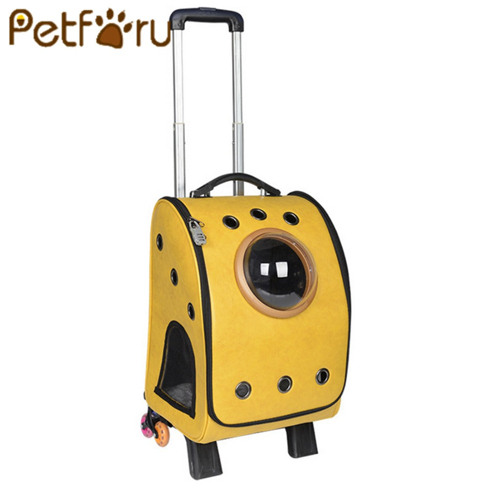 Petforu cat wheel Carrier Bag PU Puppy Dog outdoor Backpack With Six Wheel Cat Carrier Breathable Pet Travel Bag