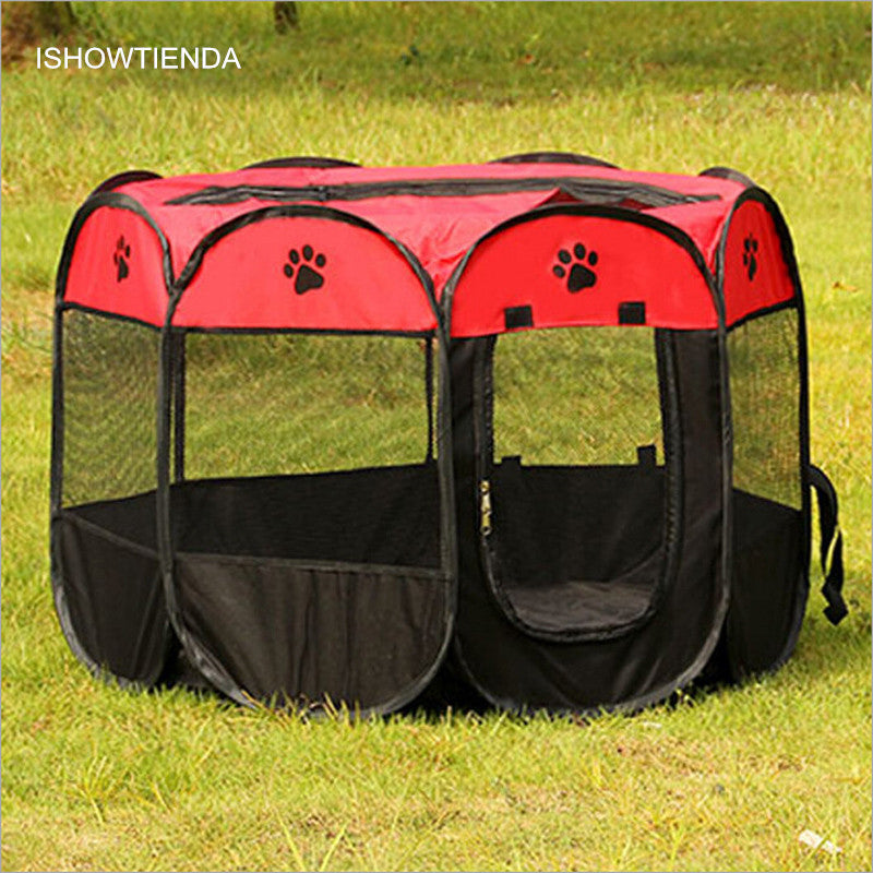 ISHOWTIENDA New High-quality Ultra-durable Uper Breathable 8 Sides Pet Dog Cat Campi Tent Outdoor Fence Portable Foldable Pop Up