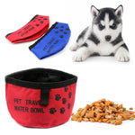 Folding Collapsible Travel Pet Dog Cat Puppy Food Water Bowl Dish Oxford Fabric Outdoor Dog Feeder