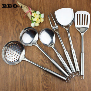 New 6 pcs Kitchen Utensil Set Stainless Steel Kitchen Cooking Tools Upscale Kitchenware Cook Kitchen Accessories Spatula Spoon