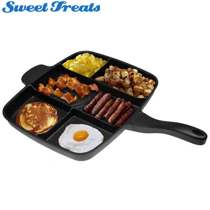 "Sweettreats 5 in 1 magic pan Non-Stick Divided Grill/Fry/Oven Meal Skillet, 15"", Black"