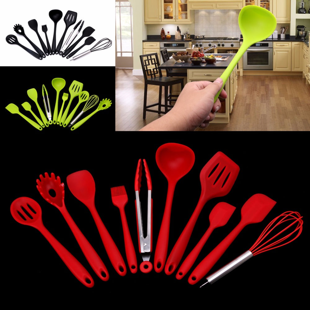 10Pcs Heat Resitant Non-stick Silicone Kitchen Utensils Set Cooking Bake Tool