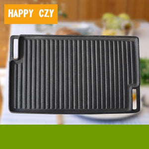 Outdoor barbecue Teppanyaki Thickened rectangle Two-sided Plate baking pan
