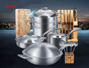 Food Grade High Quality 18/10 Stainless Steel Germany Technical 3 Style  Cookware Set European Simple Design Kitchen Utensil