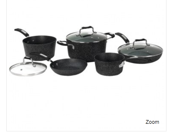 STARFRIT 030930-001-0000 THE ROCK(TM) by Starfrit 8-Piece Cookware Set with Bakelite(R) Handles