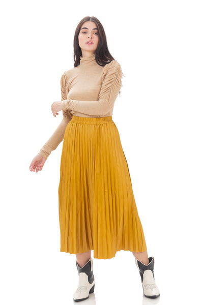 Silvia faux leather skirt - Mustard