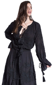 Hand made black boho dress