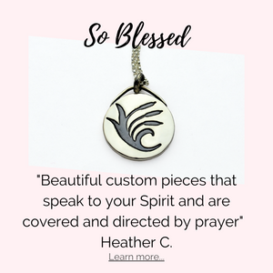 "Testimonial for Tracy Hibsman Studio's Cattails Custom Necklace by Heather C. - ""So Blessed.  Beautiful custom pieces that speak to your Spirit and are covered and directed by prayer."""