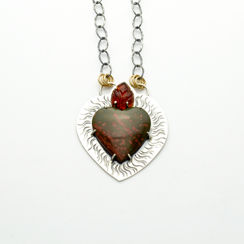 Ardor Sacred Heart of Jesus #2 Sterling Silver Necklace
