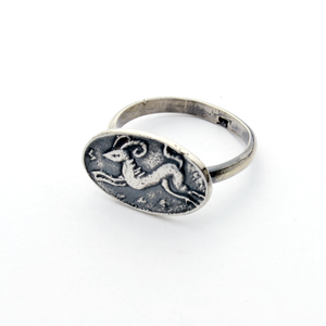 As the Deer Silver Intaglio Stacker Ring