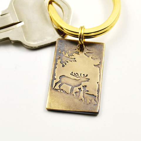 As the Deer Bronze Inscribed Keychain-Tracy Hibsman Studio