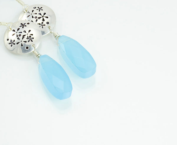 Flowers of the Field Sterling Silver Disc Earrings with Blue Chalcedony
