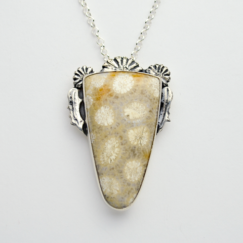 Flowers of the Field 1 Sterling Silver & Fossil Coral Necklace
