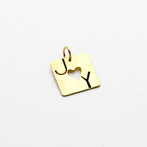 Square Joy Heart Pendant or Charm in NuGold