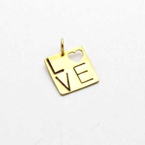Square Love Heart Pendant or Charm in NuGold