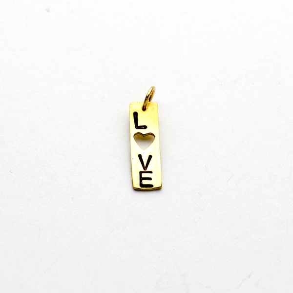 Love Heart Bar Pendant or Charm in NuGold