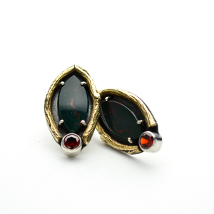 Greater Love Bloodstone Marquis & Garnet CZ Earrings