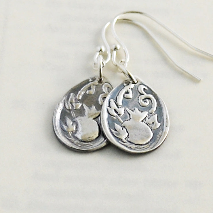 God Provides Silver Pomegranate Earrings-Tracy Hibsman Studio
