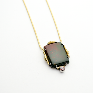 Greater Love Bloodstone & Garnet CZ Necklace - One of a Kind