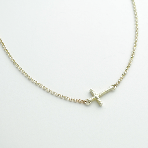 Custom for Nancy Jo - Greater Love Sterling Silver Sideways Branch Cross Necklace