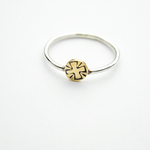 Greater Love Stamped Cross Sterling Silver & Brass Stacker Ring