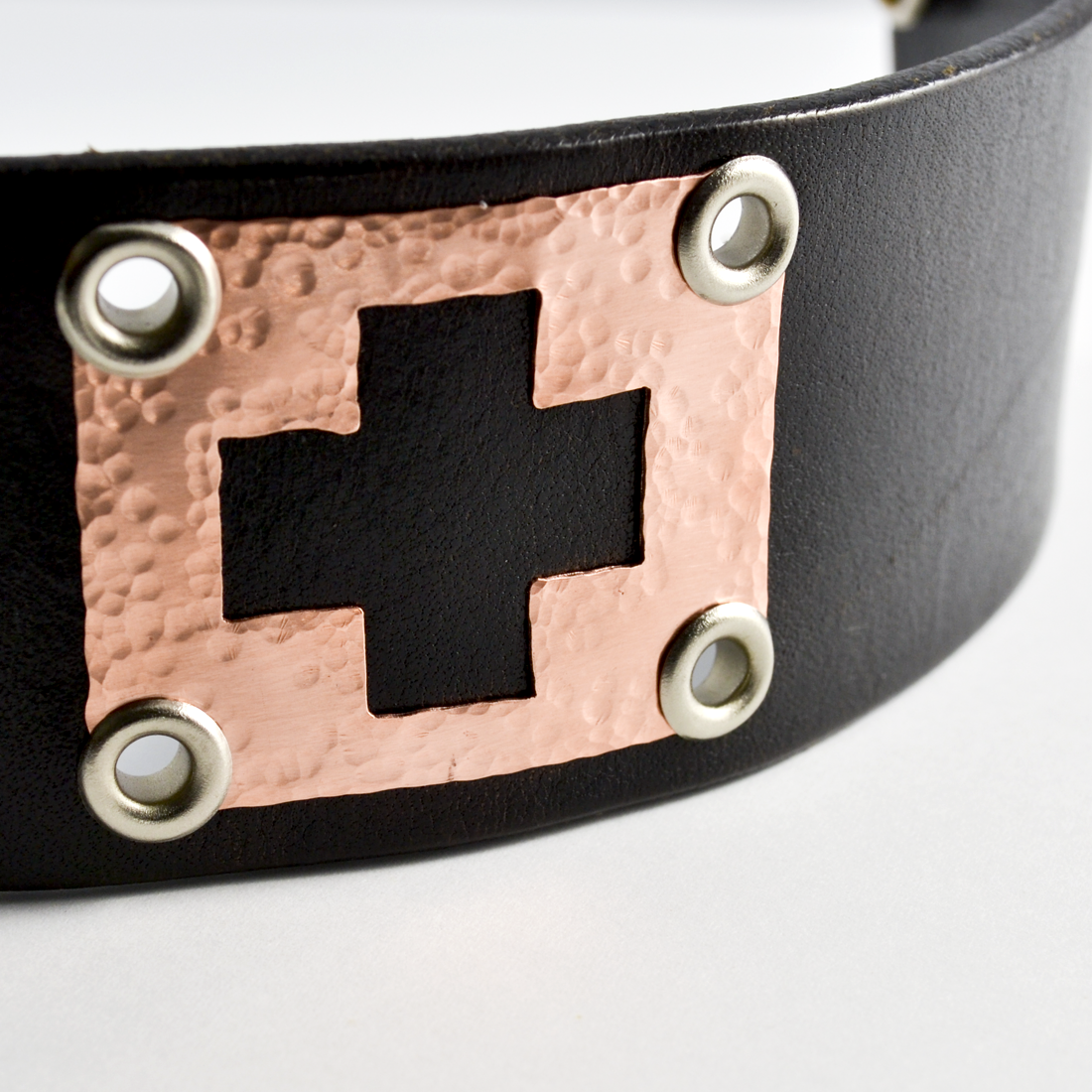 Greater Love Leather and Copper Christian Cuff Bracelet