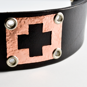 Greater Love Leather and Copper Christian Cuff Bracelet-Tracy Hibsman Studio