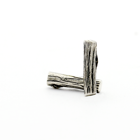 Greater Love Sterling Silver Branch Bar Stud Earrings-Tracy Hibsman Studio