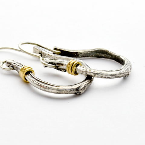 Greater Love Sterling Silver Branch Hoop Christian Earrings-Tracy Hibsman Studio