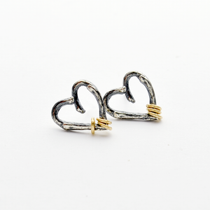 Greater Love Sterling Silver Branch Heart Stud Earrings-Tracy Hibsman Studio