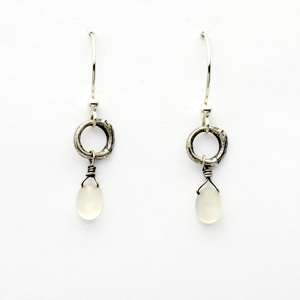 Greater Love Sterling Silver & Moonstone Christian Earrings-Tracy Hibsman Studio