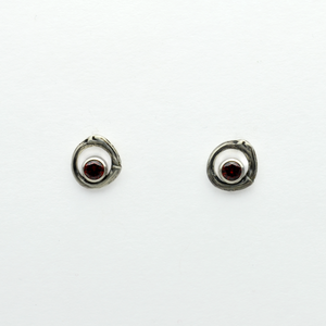 Greater Love Circle Branch & Garnet CZ Earrings