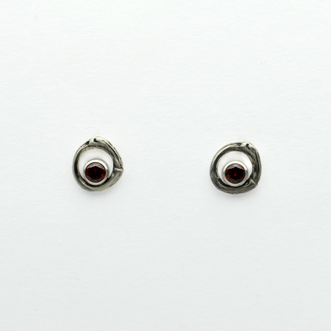 Greater Love Circle Branch & Garnet CZ Earrings-Tracy Hibsman Studio