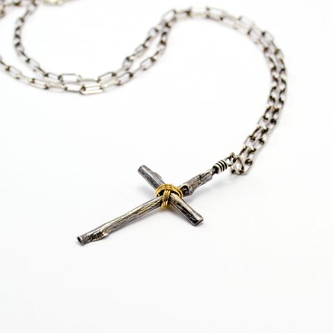 Greater Love Fine Silver & 14kt Gold-Filled Large Branch Cross-Tracy Hibsman Studio
