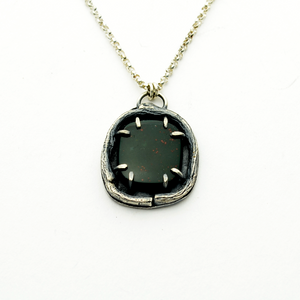 Greater Love Sterling Silver & Bloodstone Necklace-Tracy Hibsman Studio