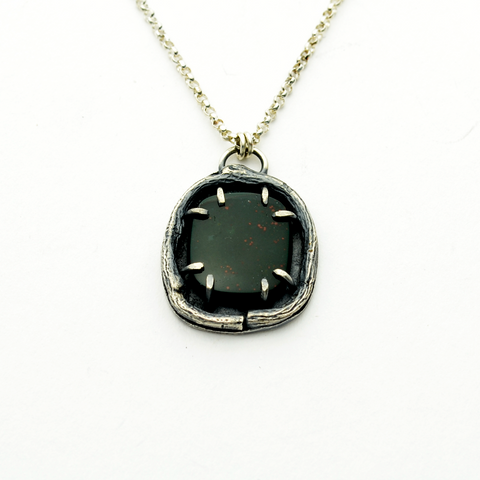 Greater Love Sterling Silver & Bloodstone Necklace