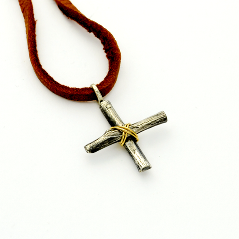 Greater Love Sterling Silver Small Branch Cross Necklace-Tracy Hibsman Studio