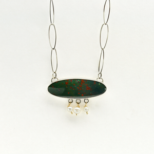 Greater Love Sterling Silver, Bloodstone & Pearl One of a Kind Christian Necklace-Tracy Hibsman Studio