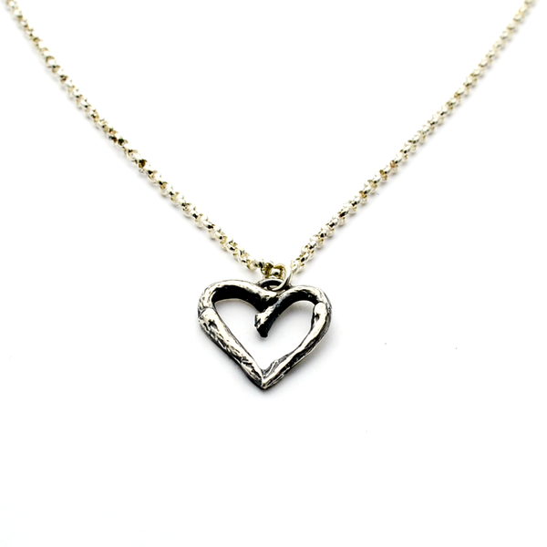 Greater Love Sterling Silver Heart Christian Necklace