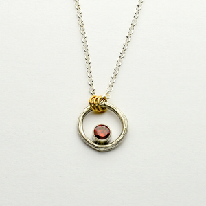 Greater Love Sterling Silver Circle Branch & Garnet CZ Necklace With 14kt Gold Filled Accent