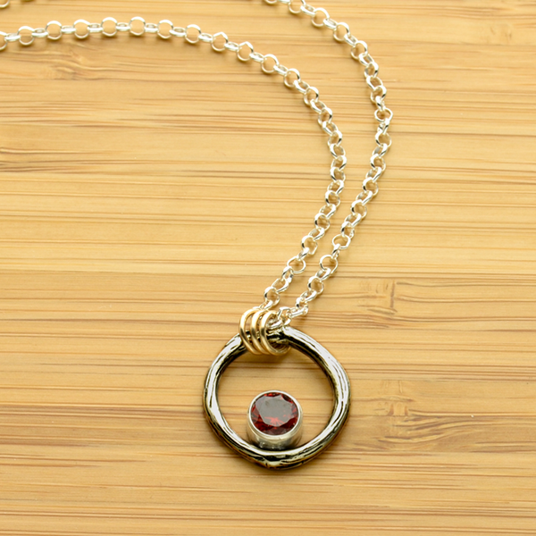 Greater Love Sterling Silver Circle Branch & Garnet CZ Necklace With 14kt Gold Filled Accent-Tracy Hibsman Studio