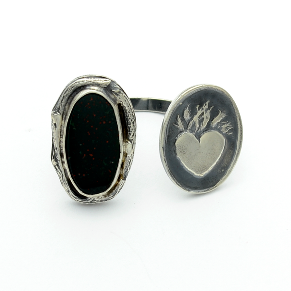 Greater Love Sterling Silver & Bloodstone Sacred Heart Cuff Ring-Tracy Hibsman Studio