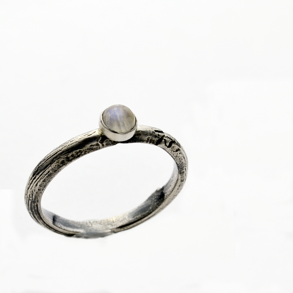 Greater Love Sterling Silver Moonstone Ring-Tracy Hibsman Studio