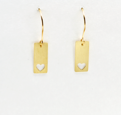 Heart of a Mother Bar Earrings in Sterling Silver or Brass